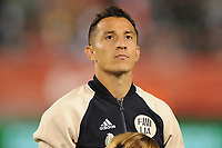 EAST RUTHERFORD, NJ - SEPTEMBER 7: Andres Guardado #18 of Mexico during the presentation of the team during a game between Mexico and USMNT at MetLife Stadium on September 6, 2019 in East Rutherford, New Jersey.