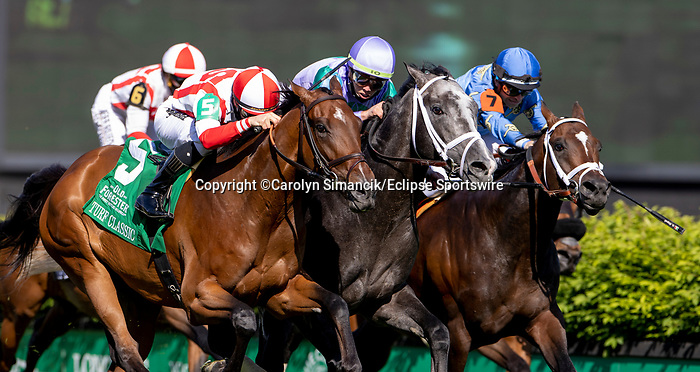 May 1, 2021 : Colonal Liam with Irad Ortiz and Domestic Spending with Flavien Prat win the Old Forester Bourbon Turf Classic in a dead heat on Kentucky Derby Day at Churchill Downs on May 1, 2021 in Louisville, Kentucky. Carolyn Simancik/Eclipse Sportswire/CSM