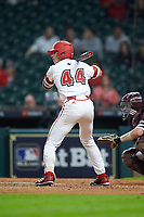 Nick Hanks (44) of the Louisiana Ragin' Cajuns at bat against the Mississippi State Bulldogs in game three of the 2018 Shriners Hospitals for Children College Classic at Minute Maid Park on March 2, 2018 in Houston, Texas.  The Bulldogs defeated the Ragin' Cajuns 3-1.   (Brian Westerholt/Four Seam Images)