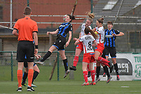 Frieke Temmerman (17) of Club Brugge and Isabelle Iliano (18) of Club Brugge with Summer Rogiers (8) of Zulte-Waregem and Pauline Windels (5) of Zulte-Waregem and Lotte De Wilde (19) of Zulte-Waregem  pictured during a female soccer game between SV Zulte - Waregem and Club Brugge YLA on the 13 th matchday of the 2020 - 2021 season of Belgian Scooore Womens Super League , saturday 6 th of February 2021  in Zulte , Belgium . PHOTO SPORTPIX.BE | SPP | DIRK VUYLSTEKE