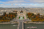 Jardin du Trocadero and Palais de Chaillot viewed from the Eiffel Tower, Paris, France,