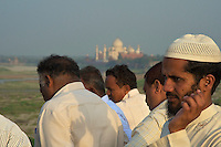 Group of Muslims gather at the Agra Fort India