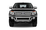 Car photography straight front view of a 2014 Ford Ranger Limited 4 Door Pickup Front View