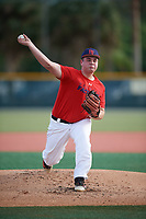 Devyn Fahnestock (70), from Matamoras, Pennsylvania, while playing for the Red Sox during the Baseball Factory Pirate City Christmas Camp & Tournament on December 27, 2017 at Pirate City in Bradenton, Florida.  (Mike Janes/Four Seam Images)
