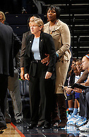 CHARLOTTESVILLE, VA- JANUARY 5: Head coach Sylvia Hatchell of the North Carolina Tar Heels receives a technical foul from the referee during the game against the Virginia Cavaliers on January 5, 2012 at the John Paul Jones arena in Charlottesville, Virginia. North Carolina defeated Virginia 78-73. (Photo by Andrew Shurtleff/Getty Images) *** Local Caption *** Sylvia Hatchell