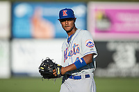 Jose Miguel Medina (44) of the Kingsport Mets warms up in the outfield prior to the game against the Danville Braves at American Legion Post 325 Field on July 9, 2016 in Danville, Virginia.  The Mets defeated the Braves 10-8.  (Brian Westerholt/Four Seam Images)