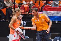 Netherlands, Den Bosch, April 18 2015 Maaspoort, Fedcup Netherlands-Australia,  Arantxa Rus (NED)  with captain Paul Haarhuis<br /> Photo: Tennisimages/Henk Koster