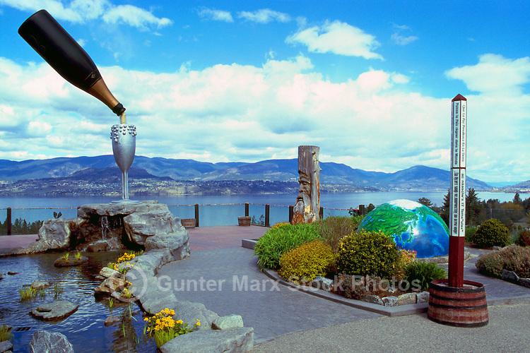 Summerhill Pyramid Winery, Kelowna, BC, South Okanagan Valley, British Columbia, Canada - Outdoor Sculptures on Terrace overlooking Okanagan Lake