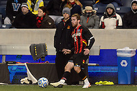 Maryland Terrapins midfielder Jereme Raley (12). The Notre Dame Fighting Irish defeated the Maryland Terrapins 2-1 during the championship match of the division 1 2013 NCAA  Men's Soccer College Cup at PPL Park in Chester, PA, on December 15, 2013.