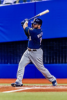 25 March 2019: Milwaukee Brewers infielder Mike Moustakas in action during an exhibition game against the Toronto Blue Jays at Olympic Stadium in Montreal, Quebec, Canada. The Brewers defeated the Blue Jays 10-5 in the first of two MLB pre-season games in the former home of the Montreal Expos. Mandatory Credit: Ed Wolfstein Photo *** RAW (NEF) Image File Available ***