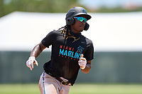 Miami Marlins Osiris Johnson (5) running the bases during a Minor League Spring Training camp day on April 28, 2021 at Roger Dean Chevrolet Stadium Complex in Jupiter, Fla.  (Mike Janes/Four Seam Images)