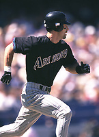 Luis Gonzalez of the Arizona Diamondbacks during a 2001 season MLB game at Dodger Stadium in Los Angeles, California. (Larry Goren/Four Seam Images)