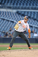 Cole Ragans (16) of the East team pitches during the 2015 Perfect Game All-American Classic at Petco Park on August 16, 2015 in San Diego, California. The East squad defeated the West, 3-1. (Larry Goren/Four Seam Images)
