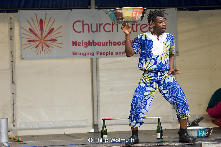 Juggling and acrobatics performance at Church Street Festival