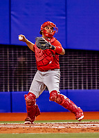26 March 2018: St. Louis Cardinals catcher Francisco Pena in action during an exhibition game against the Toronto Blue Jays at Olympic Stadium in Montreal, Quebec, Canada. The Cardinals defeated the Blue Jays 5-3 in the first of two MLB pre-season games in the former home of the Montreal Expos. Mandatory Credit: Ed Wolfstein Photo *** RAW (NEF) Image File Available ***