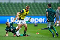 18th May 2020, WESERSTADION, Bremen, Germany; Bundesliga football, Werder Bremen versus Bayer Leverkusen;  Maximilian Eggestein and Niklas Moisander Werder Bremen during warm-up