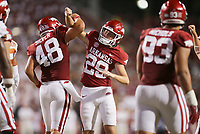 Arkansas Cam Little (29) celebrates, Saturday, September 11, 2021 during the fourth quarter of a football game at Reynolds Razorback Stadium in Fayetteville. Check out nwaonline.com/210912Daily/ for today's photo gallery. <br /> (NWA Democrat-Gazette/Charlie Kaijo)