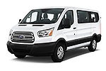 2019 Ford Transit Wagon 150 XLT Wagon Low Roof Sliding Pass. 130 5 Door Passenger Van angular front stock photos of front three quarter view