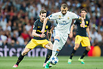 Karim Benzema (r) of Real Madrid fights for the ball with Saul Niguez Esclapez of Atletico de Madrid during their 2016-17 UEFA Champions League Semifinals 1st leg match between Real Madrid and Atletico de Madrid at the Estadio Santiago Bernabeu on 02 May 2017 in Madrid, Spain. Photo by Diego Gonzalez Souto / Power Sport Images