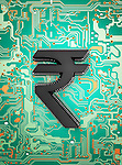 Indian rupee symbol on circuit board