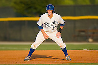 Phillip Jenkins #19 of the Burlington Royals takes his lead off of first base against the Greeneville Astros at Burlington Athletic Stadium June22, 2010, in Burlington, North Carolina.  Photo by Brian Westerholt / Four Seam Images
