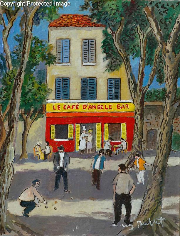 """""""Le Cafe d'Angele Bar""""<br /> ORIGINAL Acrylic on Box Canvas<br /> 14x11 <br /> $5,500"""