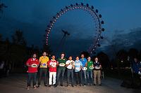 The London Eye is the backdrop for the launch of the Rugby World Cup England 2015 with L-R Adam Jones (Wales), James Horwill (Australia), Masaaki Sakata (Japan), Bob Skinstad (South Africa), Jason Robinson (England), Gonzalo Camacho (Argentina), Marco Bortolami (Italy), Gordon D'Arcy (Ireland) and Andrew Mehrtens (New Zealand)  - 15/09/2015 - London Eye - London <br /> Mandatory Credit: Rob Munro/Stewart Communications