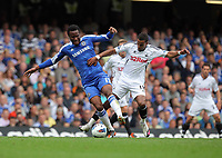 Pictured: Scott Sinclair of Swansea (R) challenged by Mikel of Chelsea (L). Saturday 17 September 2011<br />