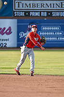 Hutton Moyer (5) of the Orem Owlz on defense against the Ogden Raptors in Pioneer League action at Lindquist Field on June 18, 2015 in Ogden, Utah.  This was Opening Night play of the 2015 Pioneer League season.  (Stephen Smith/Four Seam Images)