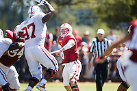 STANFORD,CA-- August 24, 2013: Kevin Hogan during the open practice at the Dan Elliott Practice Field Saturday.<br /> <br /> It was part the Stanford Football 2013 Open House.