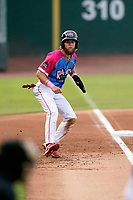 """Right fielder Cole Brannen (5) of the Greenville Drive during a game against the Asheville Tourists on Saturday, June 5, 2021, at Fluor Field at the West End in Greenville, South Carolina. Drive players were wearing jerseys for the """"Ranas de Rio de Greenville"""" (Greenville River Frogs), as part of Minor League Baseball's """"Copa de la Diversion."""" (Tom Priddy/Four Seam Images)"""