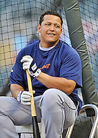 28 September 2012: Detroit Tigers third baseman Miguel Cabrera awaits his turn in the batting cage prior to a game against the Minnesota Twins at Target Field in Minneapolis, MN. The Twins defeated the Tigers 4-2 in the first game of their 3-game series. Mandatory Credit: Ed Wolfstein Photo