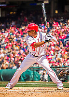 15 May 2016: Washington Nationals outfielder Ben Revere at bat against the Miami Marlins at Nationals Park in Washington, DC. The Marlins defeated the Nationals 5-1 in the final game of their 4-game series.  Mandatory Credit: Ed Wolfstein Photo *** RAW (NEF) Image File Available ***