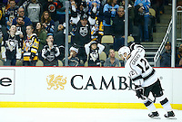 Marian Gaborik #12 of the Los Angeles Kings celebrates his shootout goal against the Pittsburgh Penguins during the game at Consol Energy Center in Pittsburgh, Pennsylvania on December 11, 2015. (Photo by Jared Wickerham / DKPS)