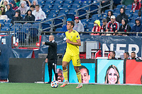 FOXBOROUGH, MA - AUGUST 4: Jack Maher #5 of Nashville SC looks to pass during a game between Nashville SC and New England Revolution at Gillette Stadium on August 4, 2021 in Foxborough, Massachusetts.