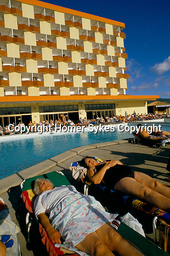 Package holiday 'Young at Heart', 1980s. Magaluf, Majorca, Spain.