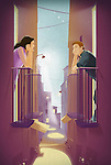 Illustration of couple admiring each other while standing in balconies