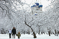 Moscow, Russia, 01/01/2012..Muscovites walking in Kolomenskoe Park on New Year's Day after a heavy overnight snowfall .