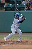 Stockton Ports third baseman Melvin Mercedes (37) at bat during a California League game against the Visalia Rawhide at Visalia Recreation Ballpark on May 8, 2018 in Visalia, California. Stockton defeated Visalia 6-2. (Zachary Lucy/Four Seam Images)