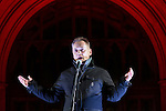 """© Joel Goodman - 07973 332324 .  03/02/2015 . Manchester , UK . TERRY CHRISTIAN speaks at the demonstration . Demonstration organised by the Labour Party on the steps of Manchester City Council in Albert Sqaure , Manchester , under the banner """"manVcam"""" ( Manchester vs Cameron ) . Organisers say Manchester - along with Liverpool and Birmingham - have suffered larger cuts than other regional authorities , whilst southern regions such as Surrey , Hampshire and West Sussex have all seen increases in government funding . Photo credit : Joel Goodman"""