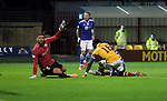 Motherwell v St Johnstone…28.11.20   Fir Park      BetFred Cup<br />Calum Hendry hidden by Bevis Mugabe levels the score at 1-1<br />Picture by Graeme Hart.<br />Copyright Perthshire Picture Agency<br />Tel: 01738 623350  Mobile: 07990 594431