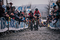 Tiesj Benoot (BEL/Lotto-Soudal), with Greg Van Avermaet (BEL/BMC) in tow, up the Oude Kwaremont<br /> <br /> 102nd Ronde van Vlaanderen 2018 (1.UWT)<br /> Antwerpen - Oudenaarde (BEL): 265km