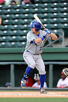 First baseman Ryan O'Hearn (22) of the Lexington Legends bats in a game against the Greenville Drive on Tuesday, April 14, 2015, at Fluor Field at the West End in Greenville, South Carolina. Lexington won, 5-3. (Tom Priddy/Four Seam Images)