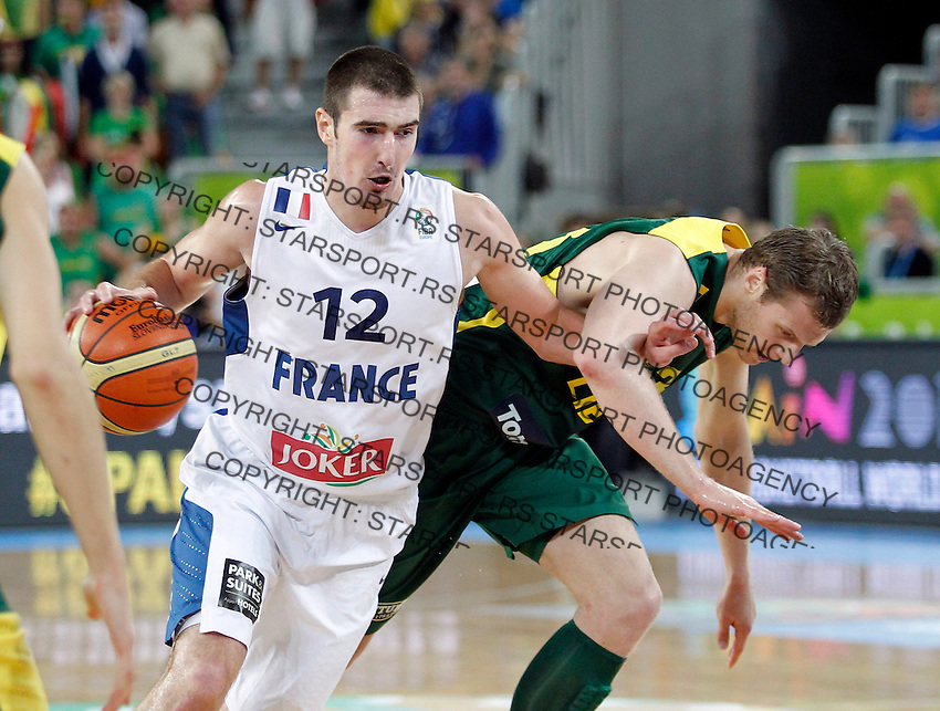 "France`s Nando De Colo in action during European basketball championship ""Eurobasket 2013""  final game between France and Lithuania in Stozice Arena in Ljubljana, Slovenia, on September 22. 2013. (credit: Pedja Milosavljevic  / thepedja@gmail.com / +381641260959)"