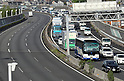 Congested Tomei Expressway on the first day of Golden Week holiday in Japan