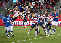03 June 2012: US Men's National Soccer Team midfielder Clint Dempsey #8 battles for a header during an international friendly  match between the United States Men's National Soccer Team and the Canadian Men's National Soccer Team at BMO Field in Toronto..The game ended in 0-0 draw..