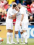 Real Madrid's Pepe, James Rodriguez and Karim Benzema celebrate goal during La Liga match. April 16,2016. (ALTERPHOTOS/Acero)