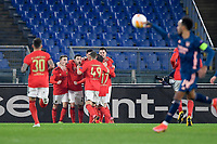 18th February 2021, Rome, Italy;   Afonso Fernandes of SL Benfica celebrates scoring their penalty kick goal in the 55th minute for 1-0 during the UEFA Europa League round of 32 Leg 1 match between SL Benfica and Arsenal at Stadio Olimpico, Rome, Italy on 18 February 2021.