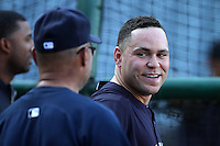 New York Yankees catcher Russell Martin #55 talks with former Yankee Reggie Jackson before a game against the Los Angeles Angels at Angel Stadium on September 10, 2011 in Anaheim,California. Los Angeles defeated New York 6-0.(Larry Goren/Four Seam Images)