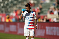 CARSON, CA - FEBRUARY 1: Ulysses Llanez Jr #19 of the United States has some water during a game between Costa Rica and USMNT at Dignity Health Sports Park on February 1, 2020 in Carson, California.